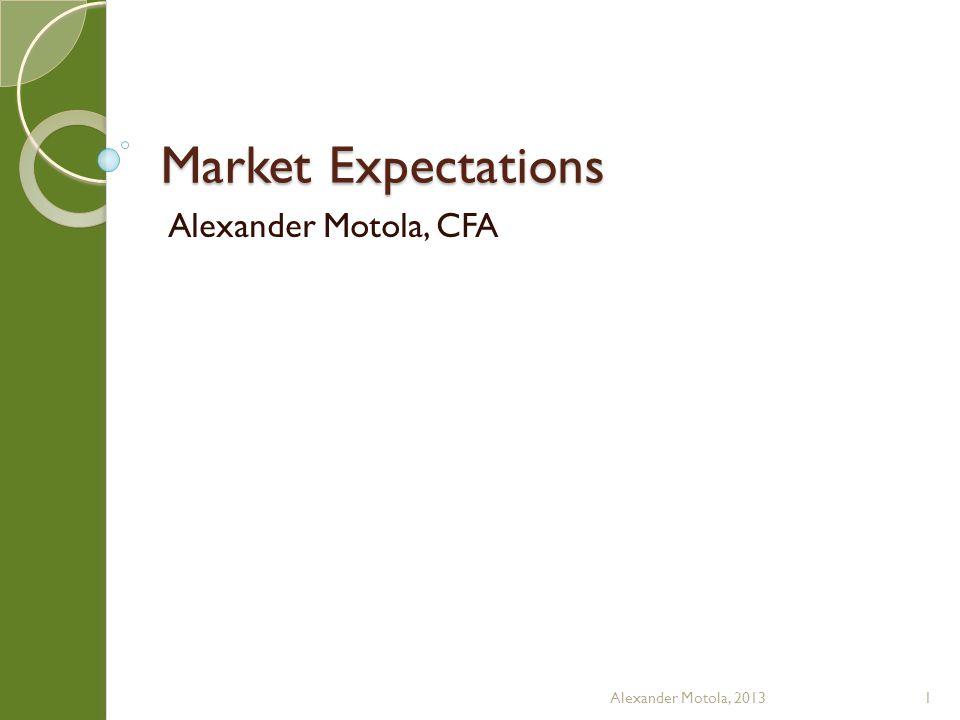Market Expectations Alexander Motola, CFA Alexander Motola, 20131