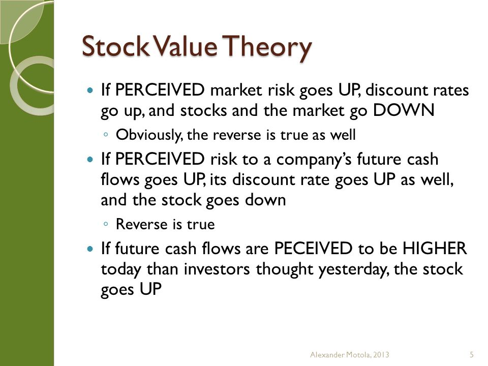 Stock Value Theory If PERCEIVED market risk goes UP, discount rates go up, and stocks and the market go DOWN Obviously, the reverse is true as well If PERCEIVED risk to a companys future cash flows goes UP, its discount rate goes UP as well, and the stock goes down Reverse is true If future cash flows are PECEIVED to be HIGHER today than investors thought yesterday, the stock goes UP Alexander Motola, 20135