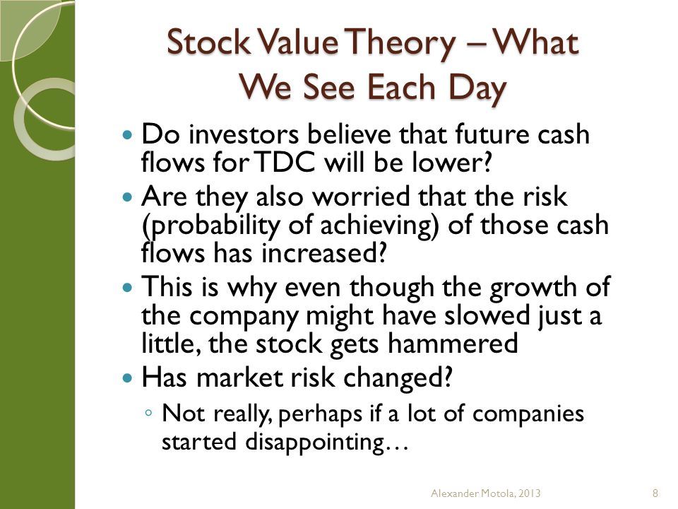 Stock Value Theory – What We See Each Day Do investors believe that future cash flows for TDC will be lower.