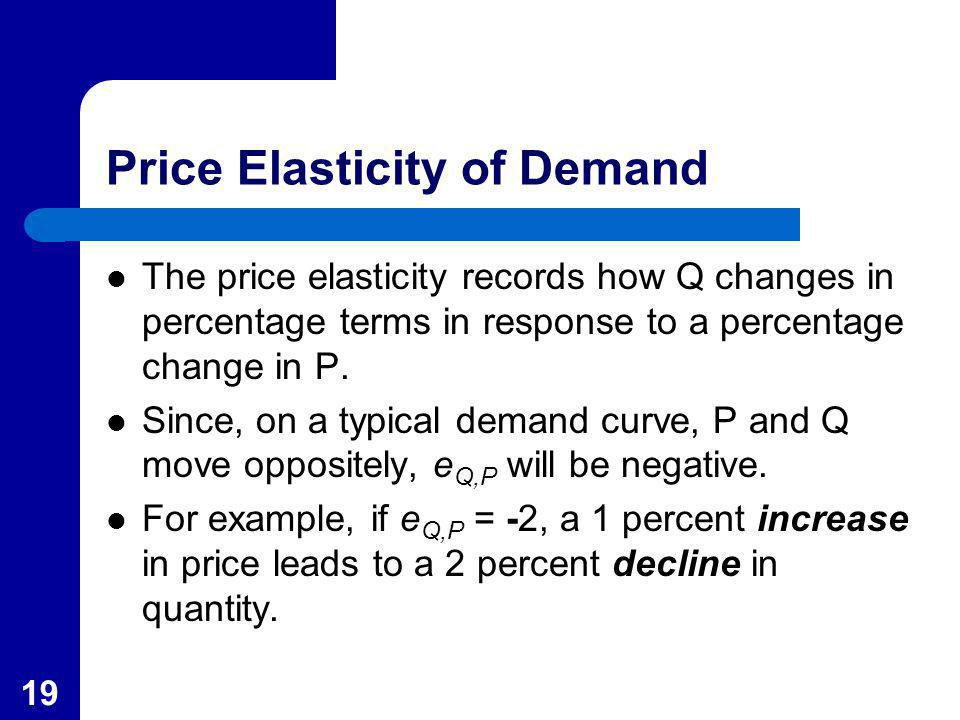 19 Price Elasticity of Demand The price elasticity records how Q changes in percentage terms in response to a percentage change in P. Since, on a typi