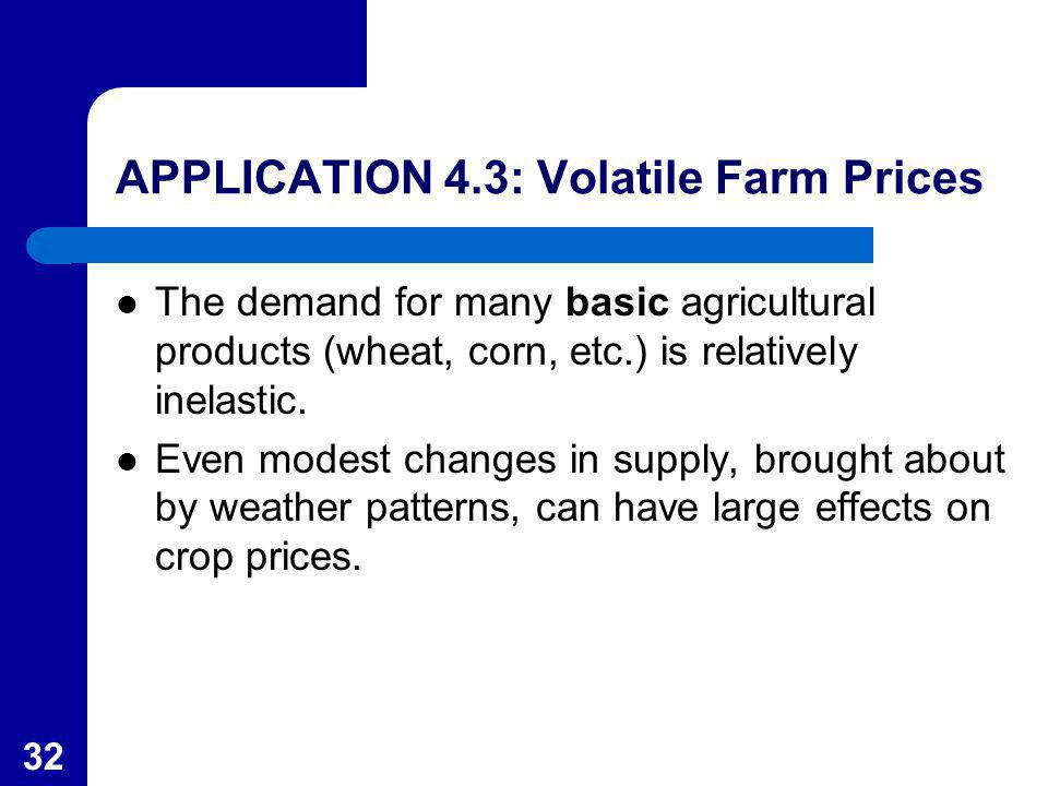 32 APPLICATION 4.3: Volatile Farm Prices The demand for many basic agricultural products (wheat, corn, etc.) is relatively inelastic. Even modest chan
