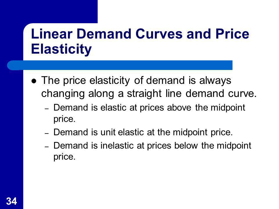 34 Linear Demand Curves and Price Elasticity The price elasticity of demand is always changing along a straight line demand curve. – Demand is elastic