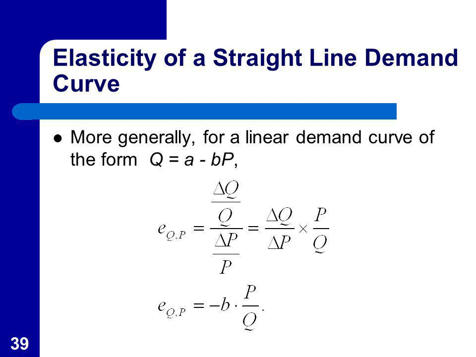 39 Elasticity of a Straight Line Demand Curve More generally, for a linear demand curve of the form Q = a - bP,