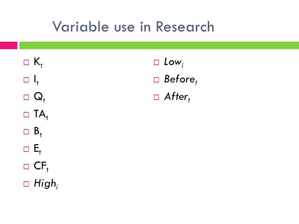 Variable use in Research K t I t Q t TA t B t E t CF t High i Low i Before t After t
