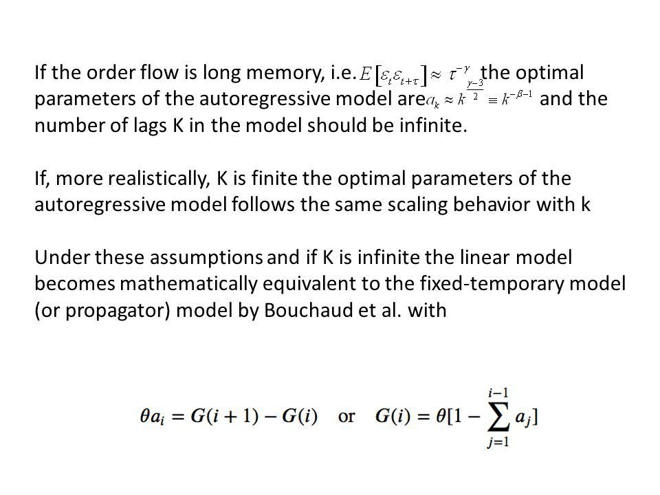 If the order flow is long memory, i.e. the optimal parameters of the autoregressive model are and the number of lags K in the model should be infinite