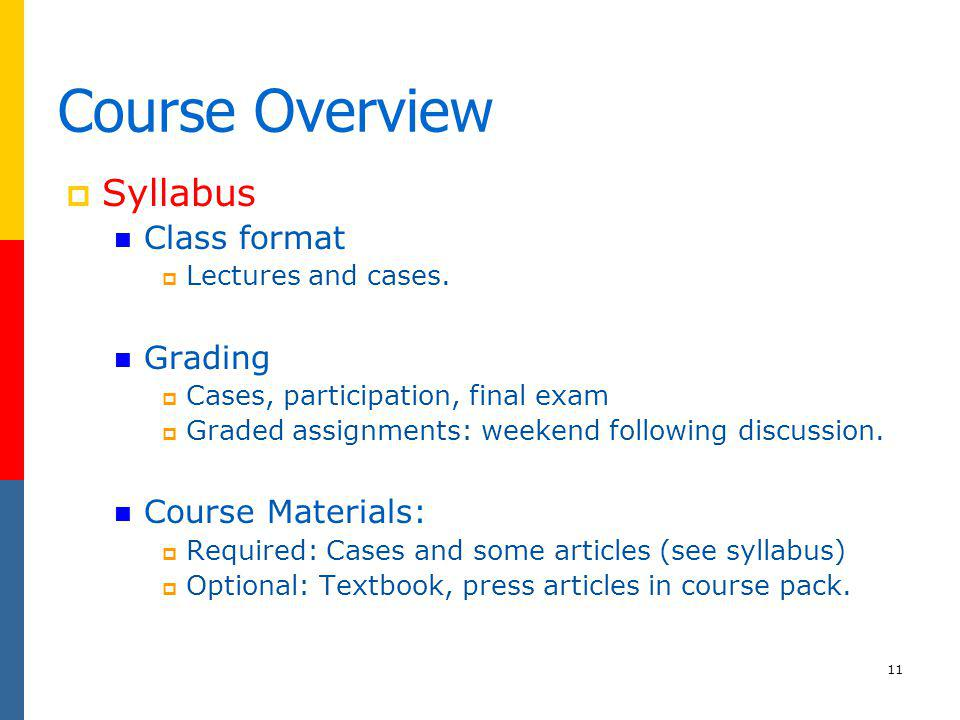 11 Course Overview Syllabus Class format Lectures and cases. Grading Cases, participation, final exam Graded assignments: weekend following discussion
