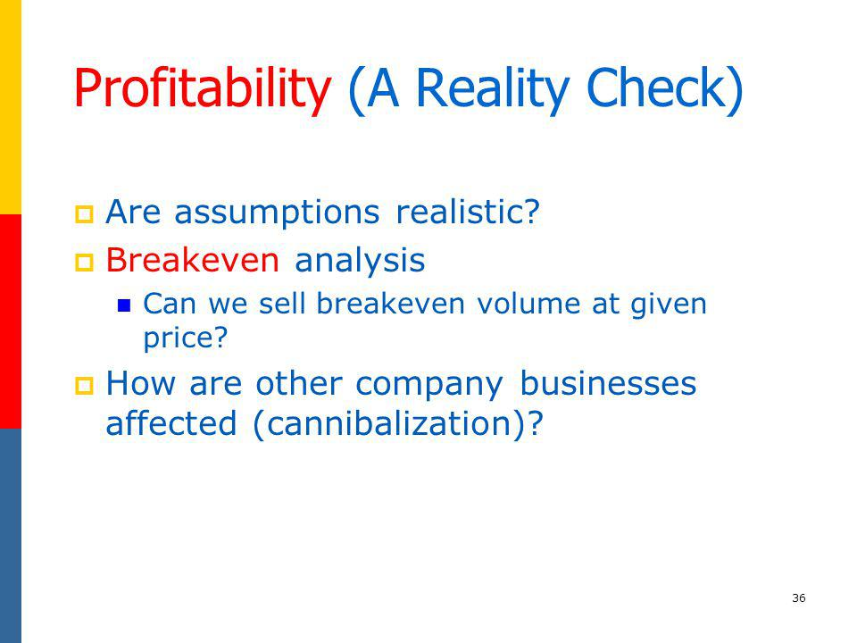 36 Profitability (A Reality Check) Are assumptions realistic? Breakeven analysis Can we sell breakeven volume at given price? How are other company bu