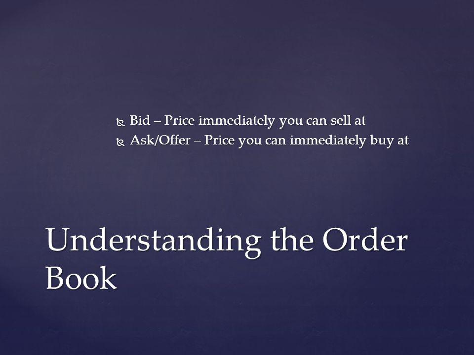 Bid – Price immediately you can sell at Bid – Price immediately you can sell at Ask/Offer – Price you can immediately buy at Ask/Offer – Price you can immediately buy at Understanding the Order Book