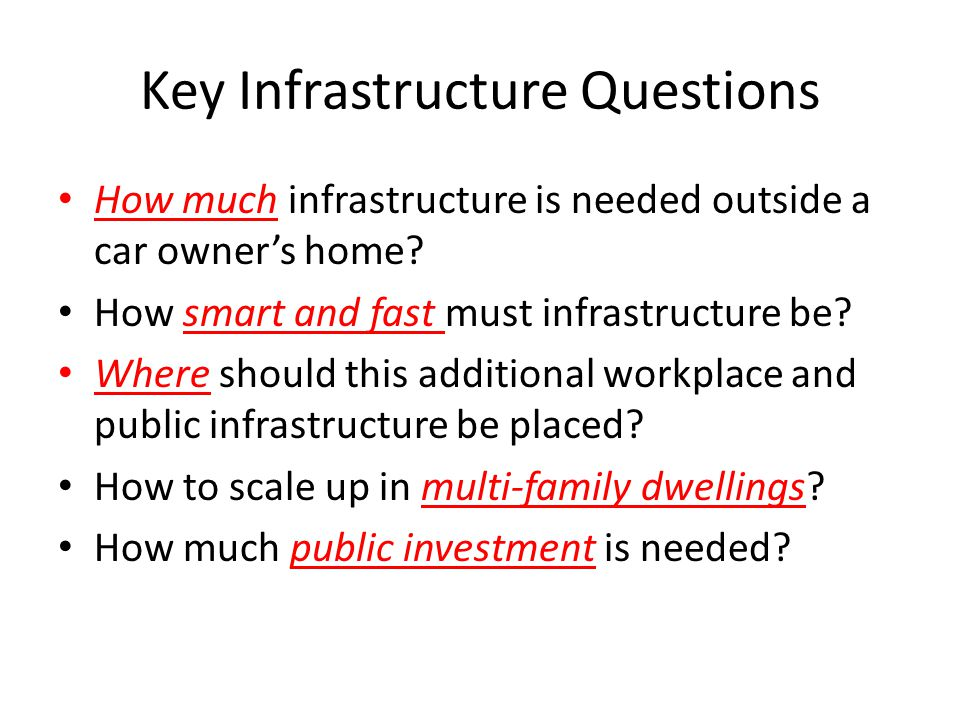 Key Infrastructure Questions How much infrastructure is needed outside a car owners home.