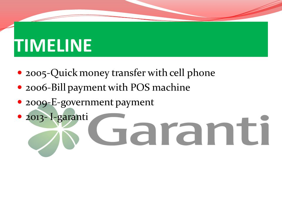 2005-Quick money transfer with cell phone 2006-Bill payment with POS machine 2009-E-government payment 2013- I-garanti TIMELINE