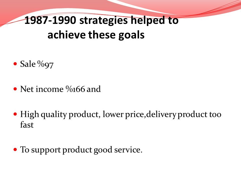 Sale %97 Net income %166 and High quality product, lower price,delivery product too fast To support product good service. 1987-1990 strategies helped