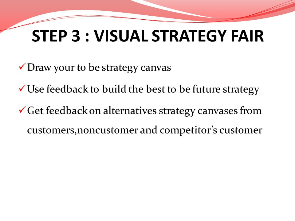 STEP 3 : VISUAL STRATEGY FAIR Draw your to be strategy canvas Use feedback to build the best to be future strategy Get feedback on alternatives strate