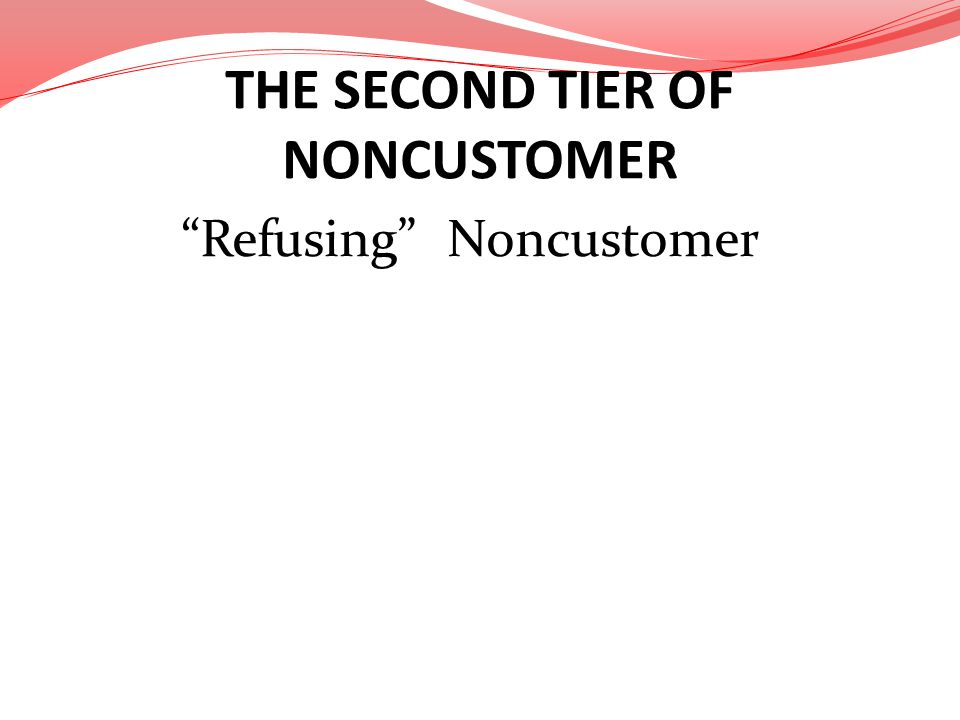 THE SECOND TIER OF NONCUSTOMER Refusing Noncustomer