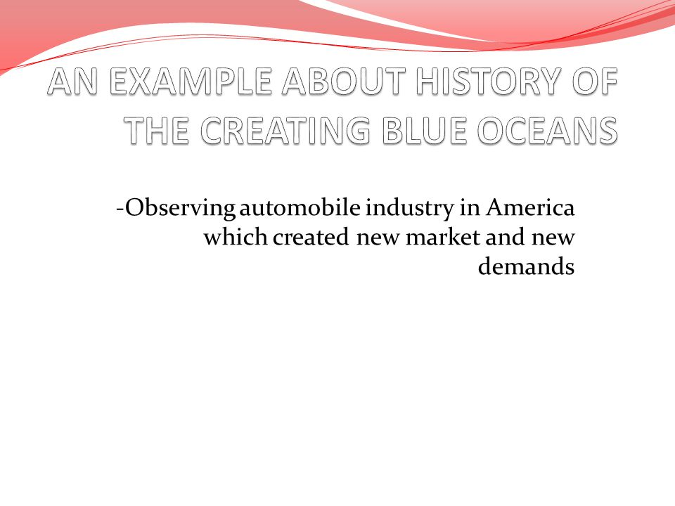 -Observing automobile industry in America which created new market and new demands