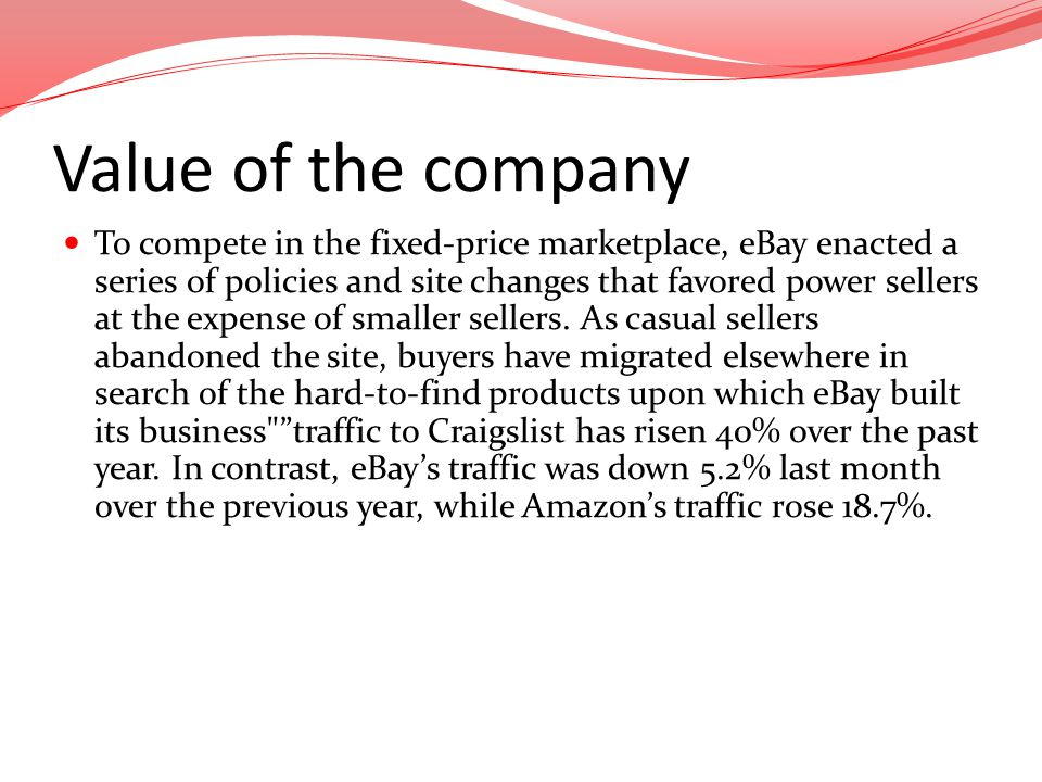 Value of the company To compete in the fixed-price marketplace, eBay enacted a series of policies and site changes that favored power sellers at the e