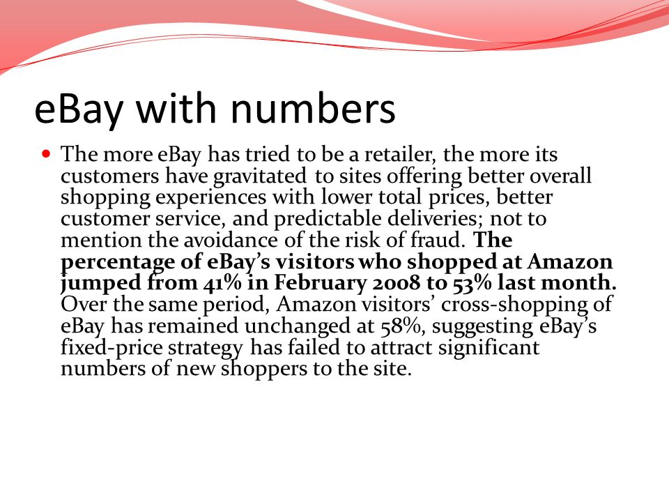 eBay with numbers The more eBay has tried to be a retailer, the more its customers have gravitated to sites offering better overall shopping experienc