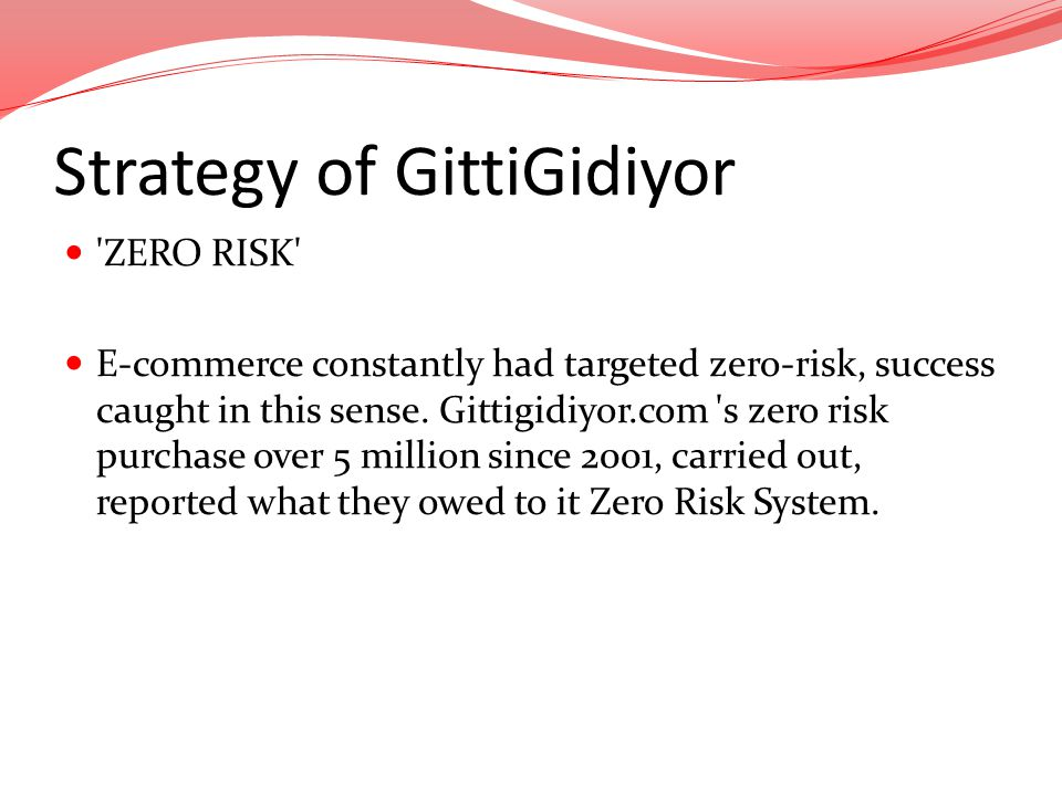 Strategy of GittiGidiyor 'ZERO RISK' E-commerce constantly had targeted zero-risk, success caught in this sense. Gittigidiyor.com 's zero risk purchas