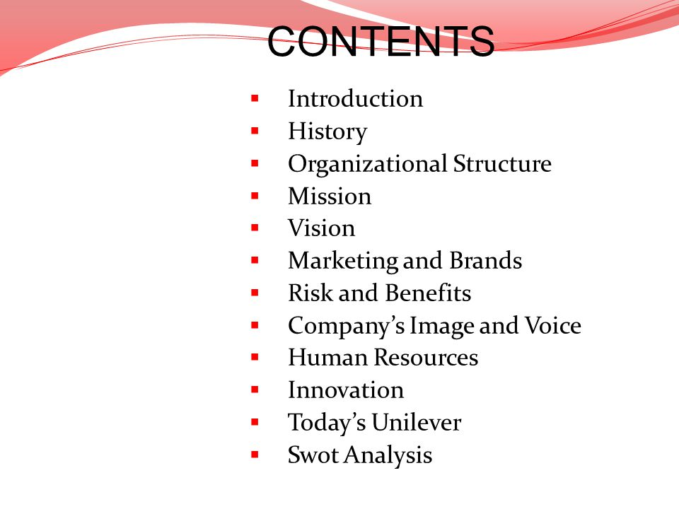 Introduction History Organizational Structure Mission Vision Marketing and Brands Risk and Benefits Companys Image and Voice Human Resources Innovatio