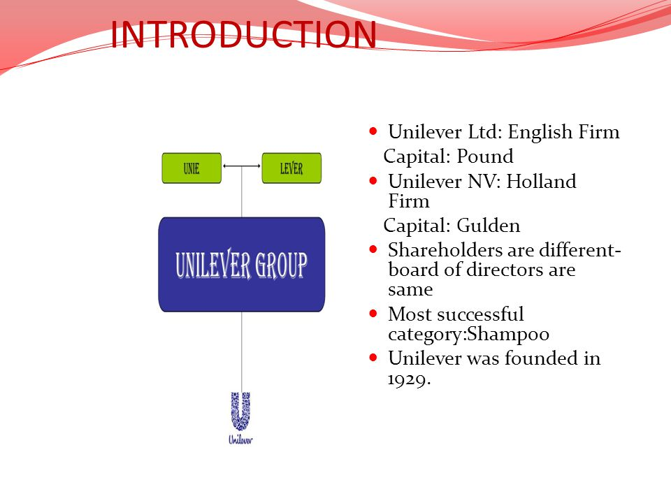 INTRODUCTION Unilever Ltd: English Firm Capital: Pound Unilever NV: Holland Firm Capital: Gulden Shareholders are different- board of directors are sa
