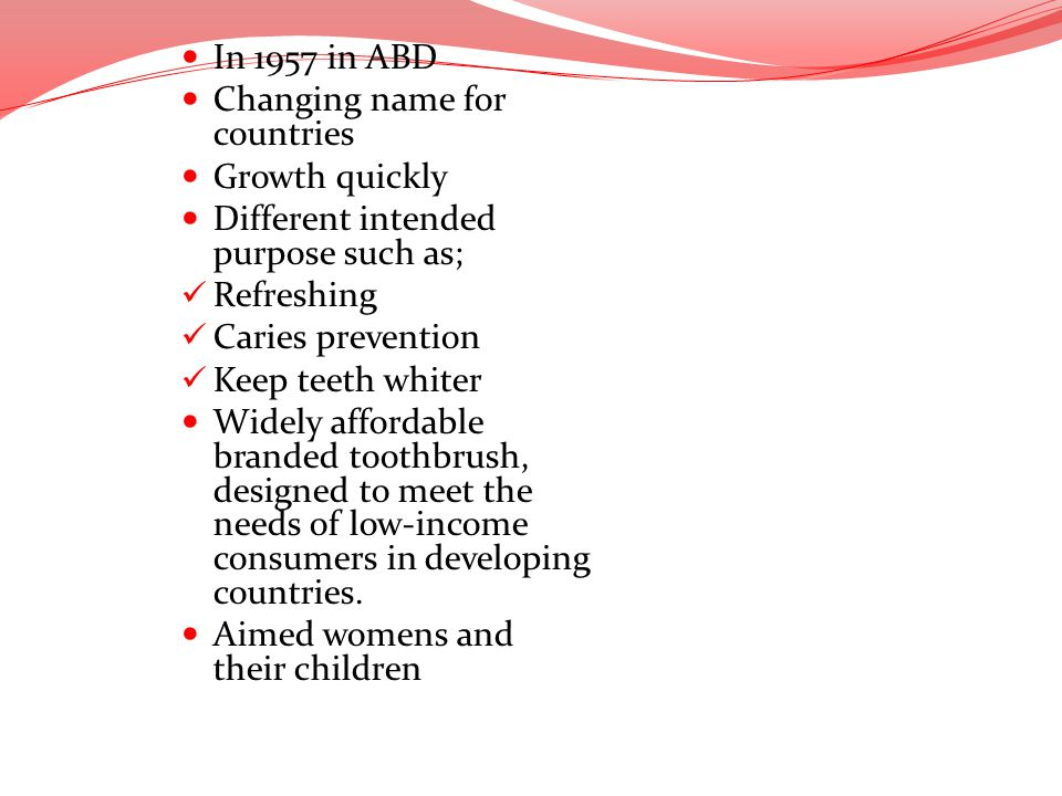 In 1957 in ABD Changing name for countries Growth quickly Different intended purpose such as; Refreshing Caries prevention Keep teeth whiter Widely af