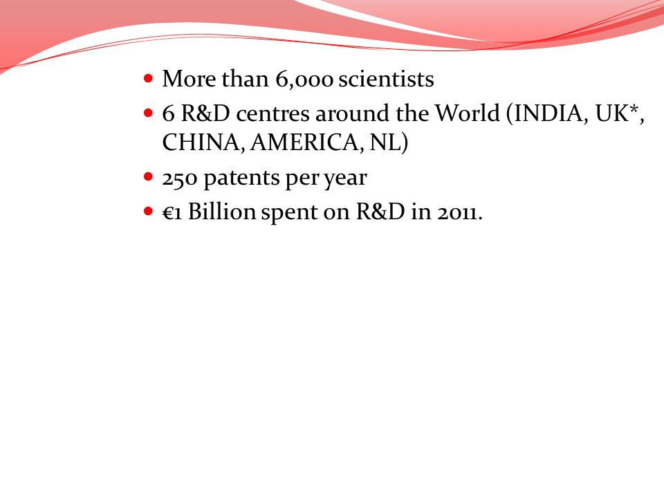 More than 6,000 scientists 6 R&D centres around the World (INDIA, UK*, CHINA, AMERICA, NL) 250 patents per year 1 Billion spent on R&D in 2011.