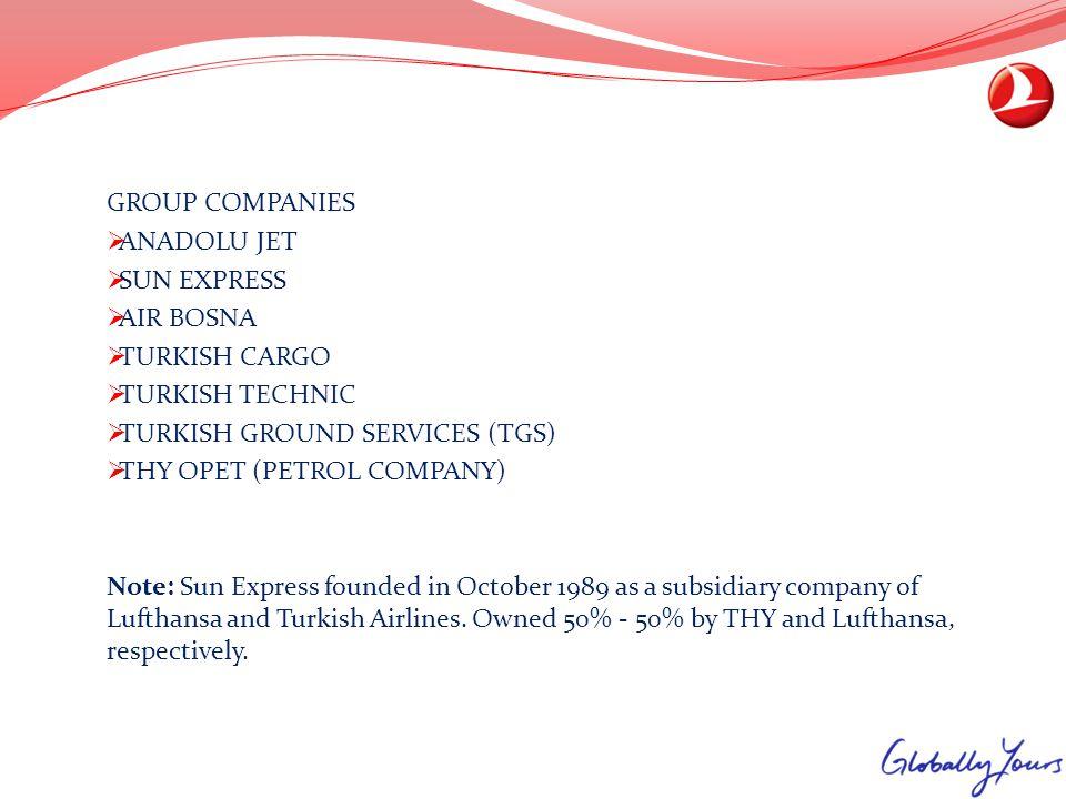 GROUP COMPANIES ANADOLU JET SUN EXPRESS AIR BOSNA TURKISH CARGO TURKISH TECHNIC TURKISH GROUND SERVICES (TGS) THY OPET (PETROL COMPANY) Note: Sun Expr