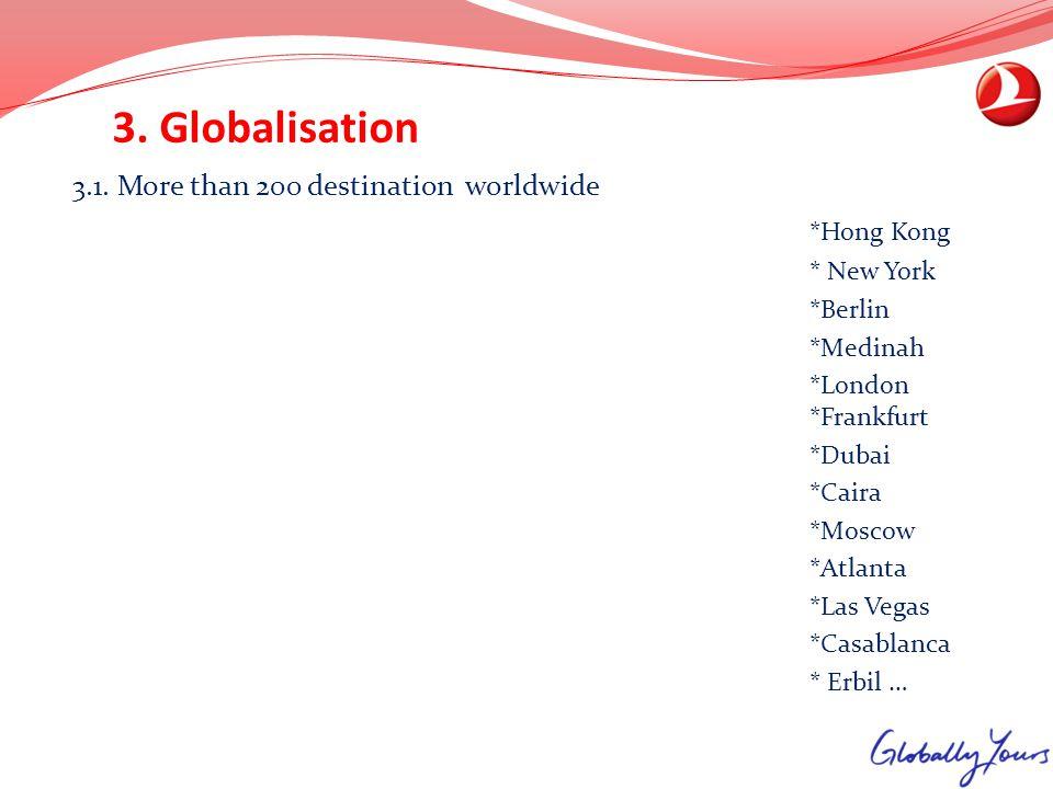 3. Globalisation 3.1. More than 200 destination worldwide *Hong Kong * New York *Berlin *Medinah *London *Frankfurt *Dubai *Caira *Moscow *Atlanta *La