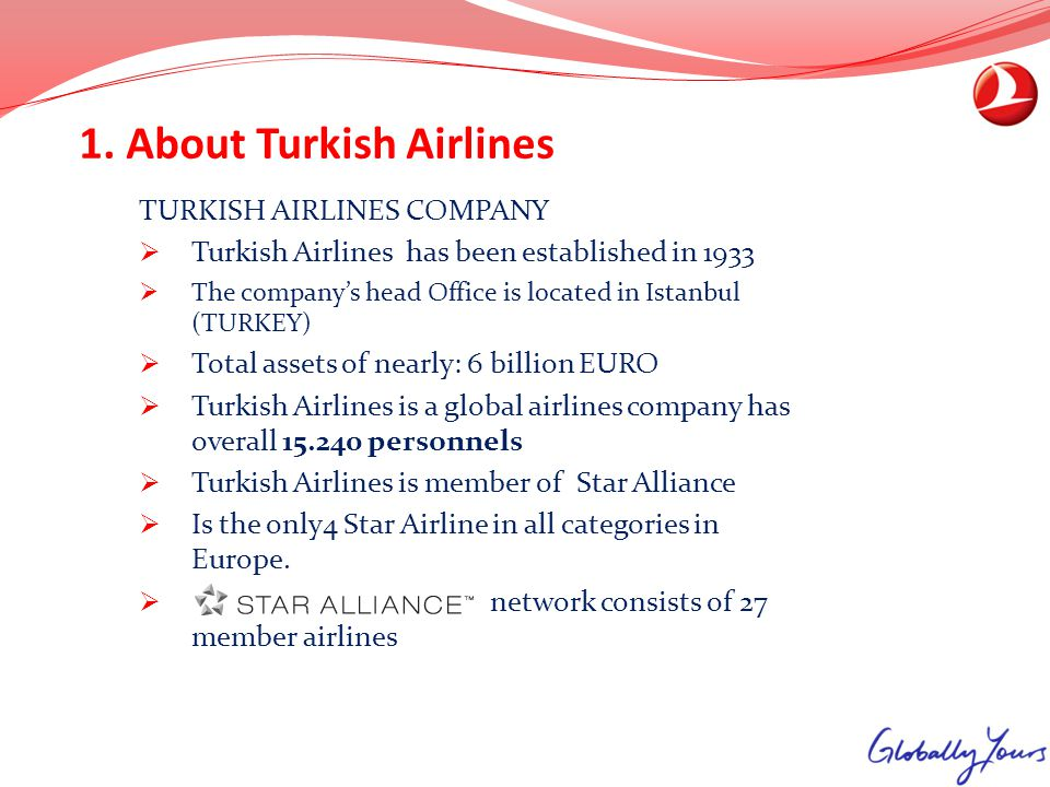 1. About Turkish Airlines TURKISH AIRLINES COMPANY Turkish Airlines has been established in 1933 The companys head Office is located in Istanbul (TURK