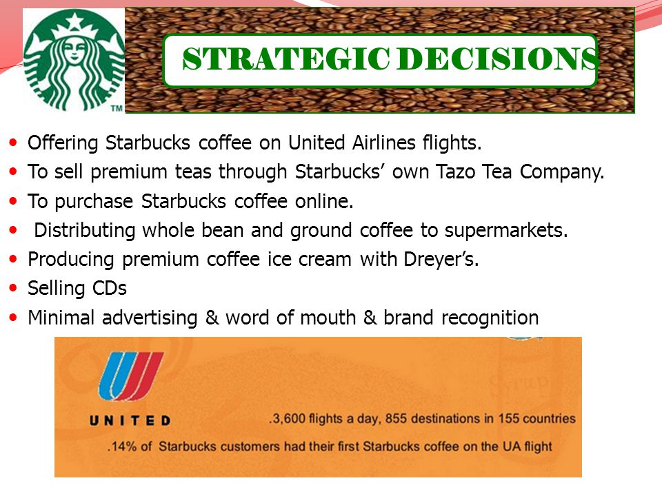 Offering Starbucks coffee on United Airlines flights. To sell premium teas through Starbucks own Tazo Tea Company. To purchase Starbucks coffee online