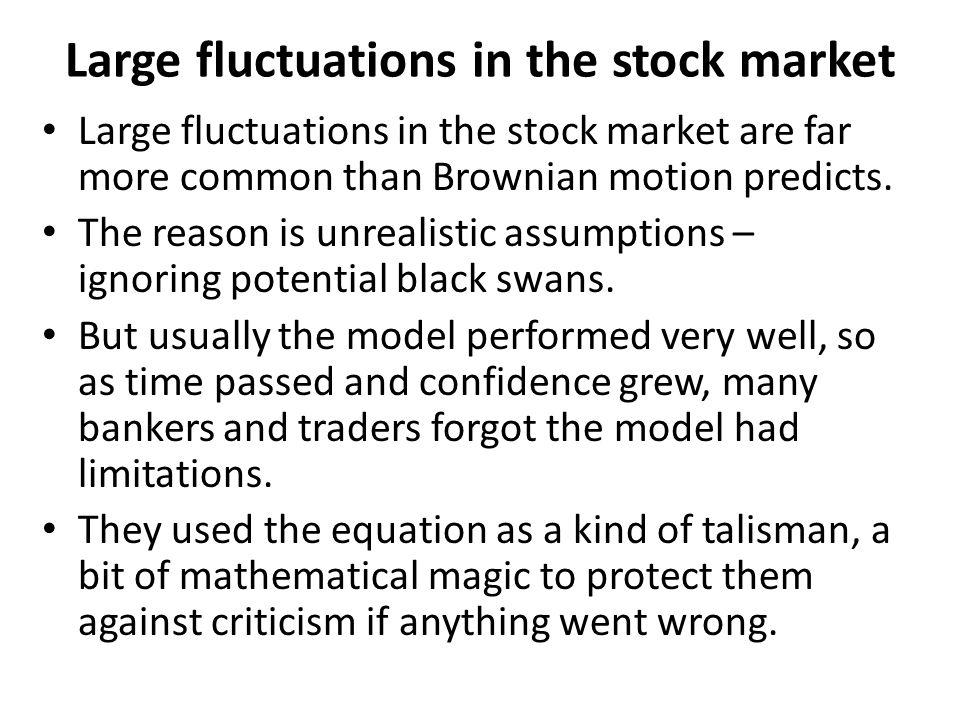 Large fluctuations in the stock market Large fluctuations in the stock market are far more common than Brownian motion predicts.