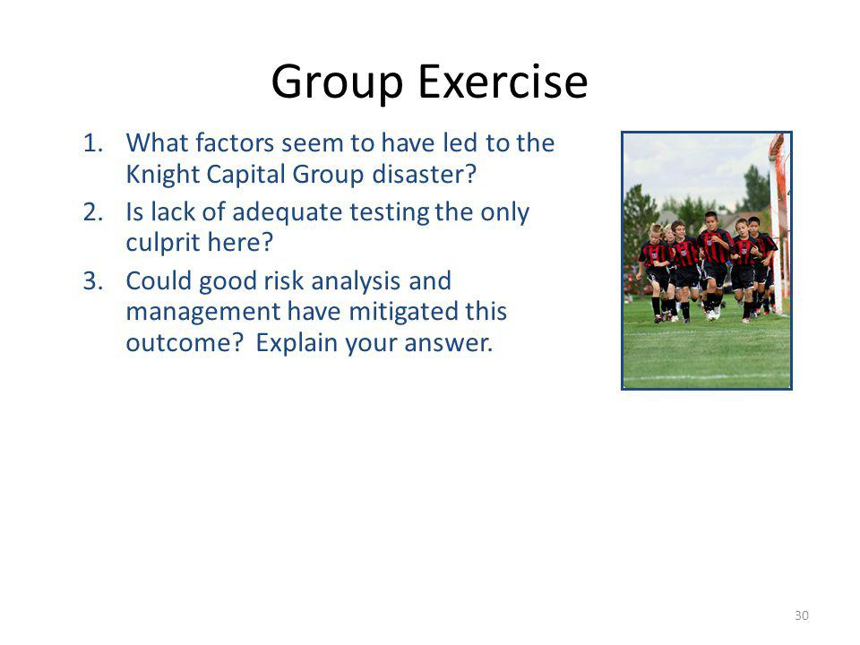 30 Group Exercise 1.What factors seem to have led to the Knight Capital Group disaster.