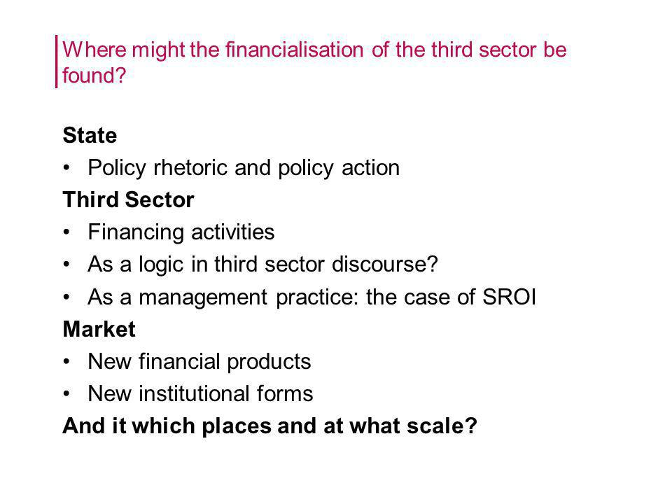 State Policy rhetoric and policy action Third Sector Financing activities As a logic in third sector discourse.