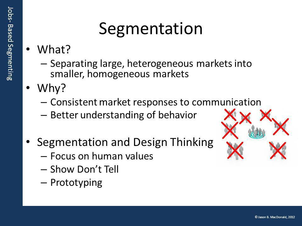 Jobs- Based Segmenting © Jason B. MacDonald, 2012 Segmentation What? – Separating large, heterogeneous markets into smaller, homogeneous markets Why?
