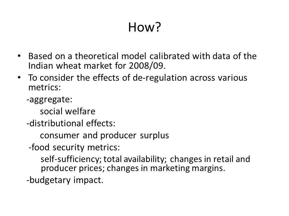 How.Based on a theoretical model calibrated with data of the Indian wheat market for 2008/09.