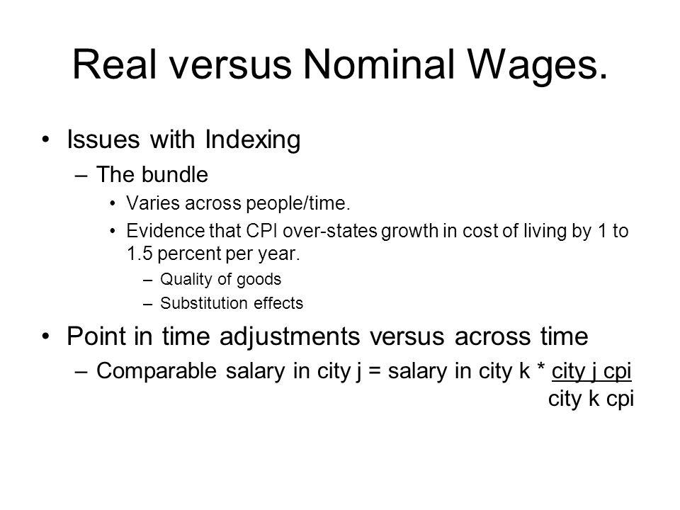 Real versus Nominal Wages. Issues with Indexing –The bundle Varies across people/time.