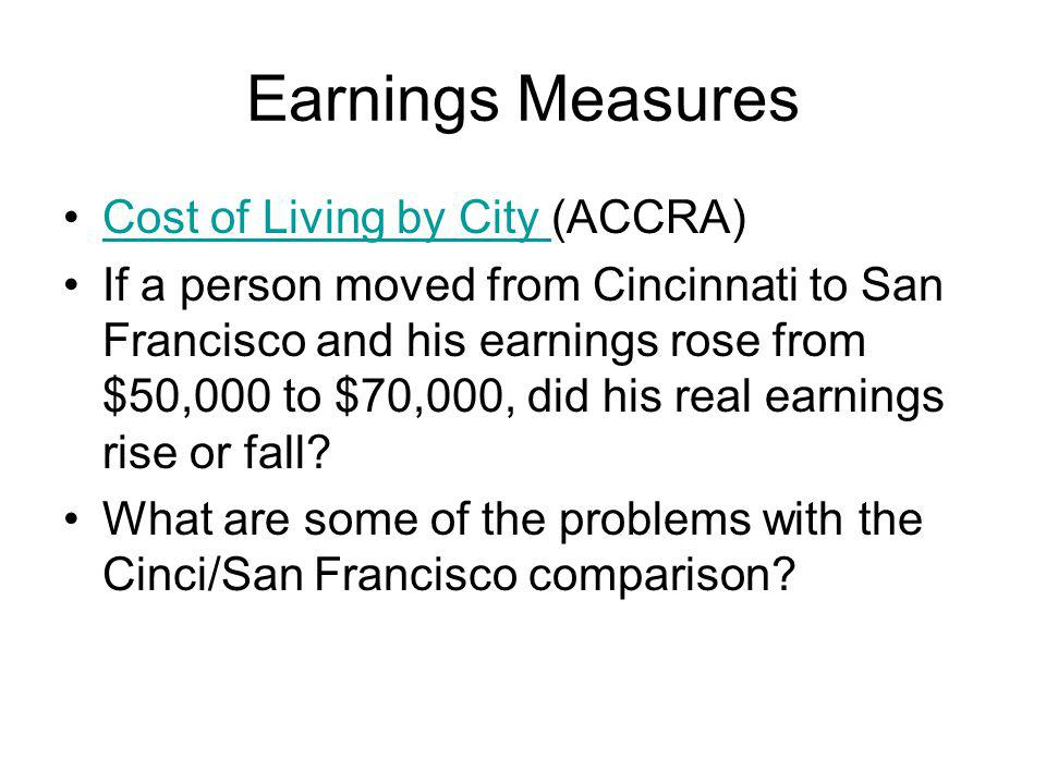 Earnings Measures Cost of Living by City (ACCRA)Cost of Living by City If a person moved from Cincinnati to San Francisco and his earnings rose from $50,000 to $70,000, did his real earnings rise or fall.