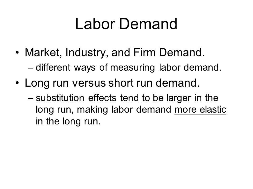 Labor Demand Market, Industry, and Firm Demand. –different ways of measuring labor demand.