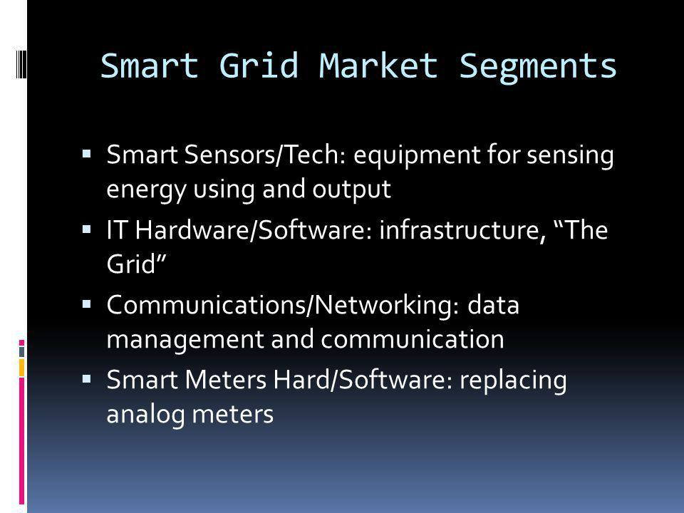 Smart Grid Market Segments Smart Sensors/Tech: equipment for sensing energy using and output IT Hardware/Software: infrastructure, The Grid Communications/Networking: data management and communication Smart Meters Hard/Software: replacing analog meters