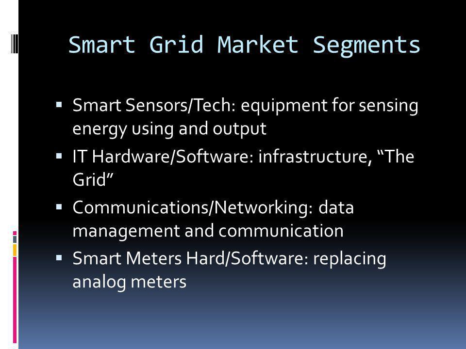 Smart Grid Market Segments Smart Sensors/Tech: equipment for sensing energy using and output IT Hardware/Software: infrastructure, The Grid Communicat