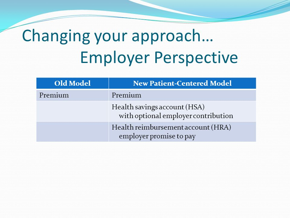Changing your approach… Employer Perspective Old ModelNew Patient-Centered Model Premium Health savings account (HSA) with optional employer contribution Health reimbursement account (HRA) employer promise to pay