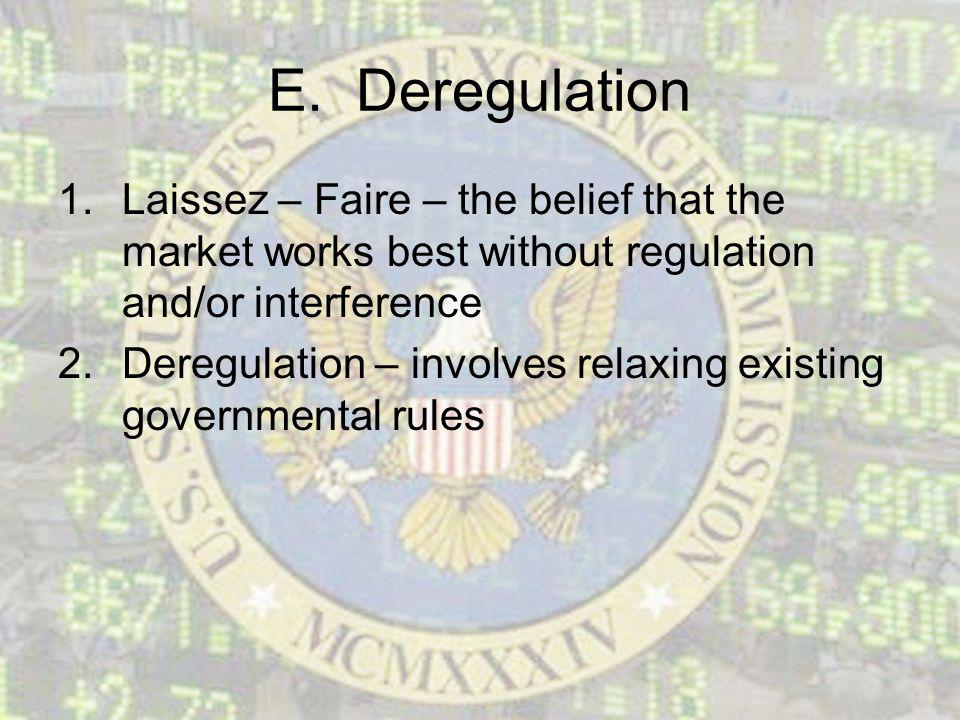 E. Deregulation 1.Laissez – Faire – the belief that the market works best without regulation and/or interference 2.Deregulation – involves relaxing ex
