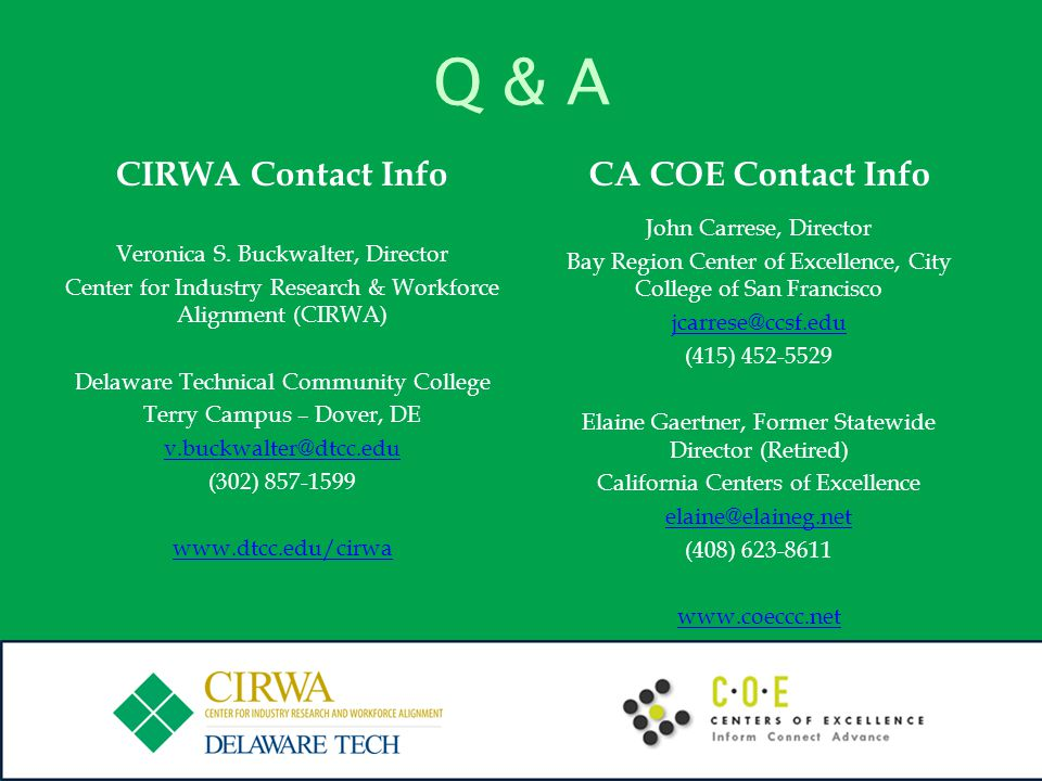 Q & A CIRWA Contact Info Veronica S. Buckwalter, Director Center for Industry Research & Workforce Alignment (CIRWA) Delaware Technical Community Coll