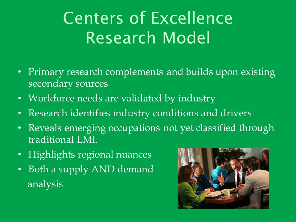 Centers of Excellence Research Model Primary research complements and builds upon existing secondary sources Workforce needs are validated by industry Research identifies industry conditions and drivers Reveals emerging occupations not yet classified through traditional LMI.