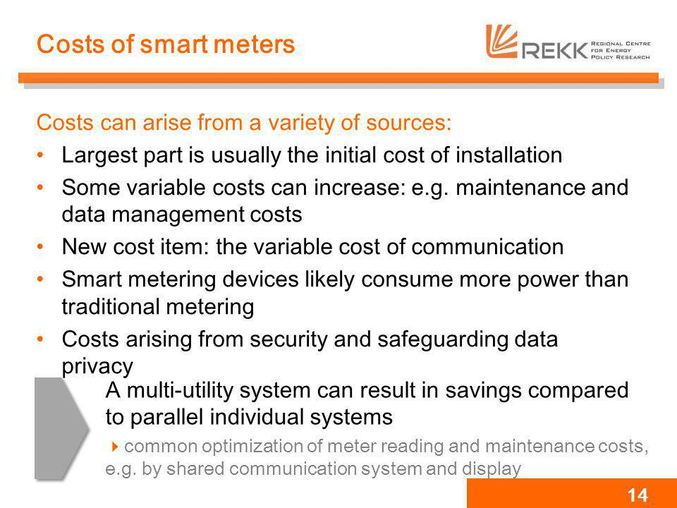 Costs of smart meters Costs can arise from a variety of sources: Largest part is usually the initial cost of installation Some variable costs can incr