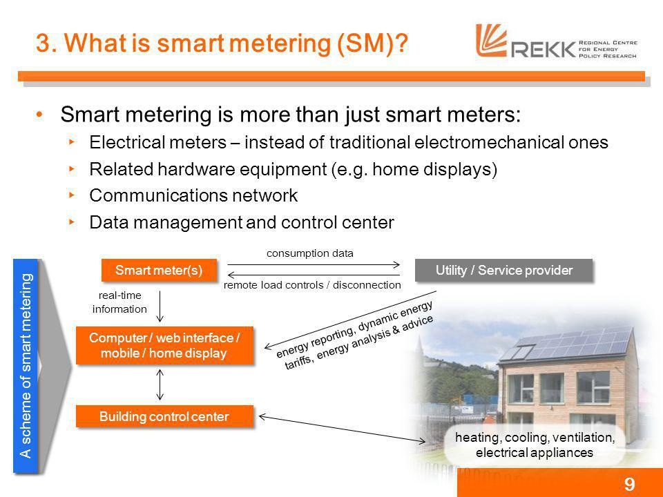 3. What is smart metering (SM)? Smart metering is more than just smart meters: Electrical meters – instead of traditional electromechanical ones Relat