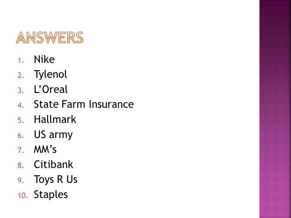 1. Nike 2. Tylenol 3. LOreal 4. State Farm Insurance 5. Hallmark 6. US army 7. MMs 8. Citibank 9. Toys R Us 10. Staples