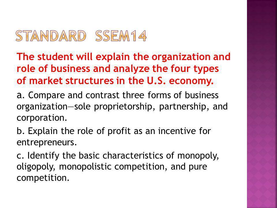 The student will explain the organization and role of business and analyze the four types of market structures in the U.S. economy. a. Compare and con
