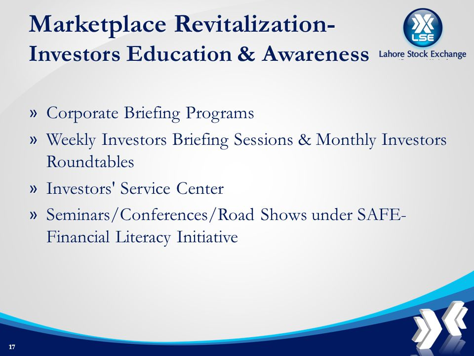 Marketplace Revitalization- Investors Education & Awareness » Corporate Briefing Programs » Weekly Investors Briefing Sessions & Monthly Investors Roundtables » Investors Service Center » Seminars/Conferences/Road Shows under SAFE- Financial Literacy Initiative 17