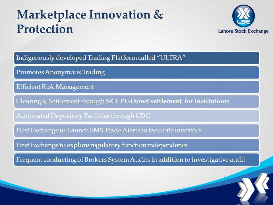 Marketplace Innovation & Protection Indigenously developed Trading Platform called ULTRAPromotes Anonymous TradingEfficient Risk ManagementClearing & Settlement through NCCPL-Direct settlement for InstitutionsAutomated Depository Facilities through CDCFirst Exchange to Launch SMS Trade Alerts to facilitate investorsFirst Exchange to explore regulatory function independenceFrequent conducting of Brokers System Audits in addition to investigative audit