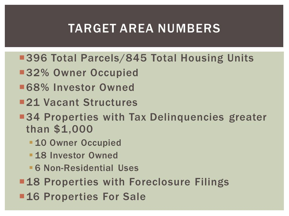 TARGET AREA NUMBERS 396 Total Parcels/845 Total Housing Units 32% Owner Occupied 68% Investor Owned 21 Vacant Structures 34 Properties with Tax Delinquencies greater than $1,000 10 Owner Occupied 18 Investor Owned 6 Non-Residential Uses 18 Properties with Foreclosure Filings 16 Properties For Sale
